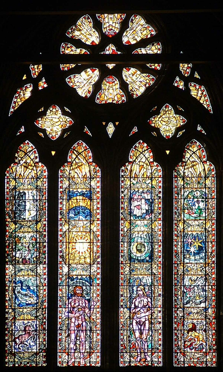 "The Great West Window in the Nave of the Cathedral is ""The Creation"" by Francis Spear."